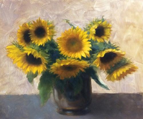 Devin Cecil-Wishing   Farmers Market Sunflowers  20 x 24 in oil on linen