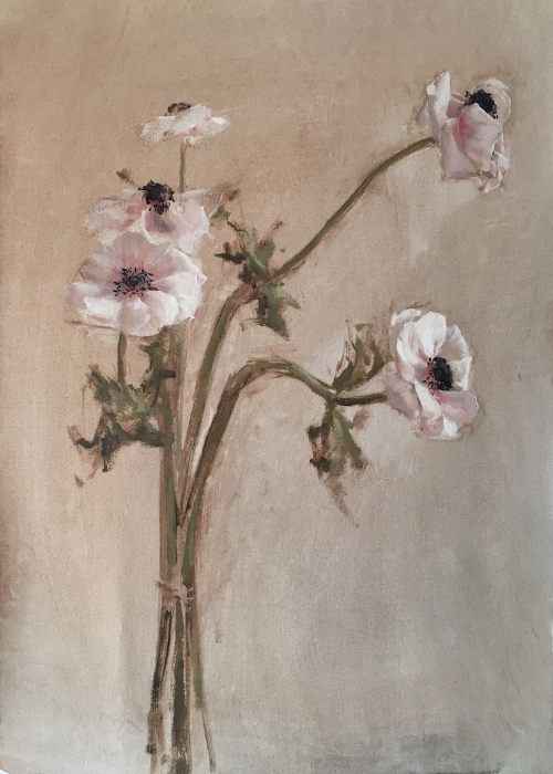Katie Whipple   Dancing Anemones -  SOLD  19 x 13 in oil on linen