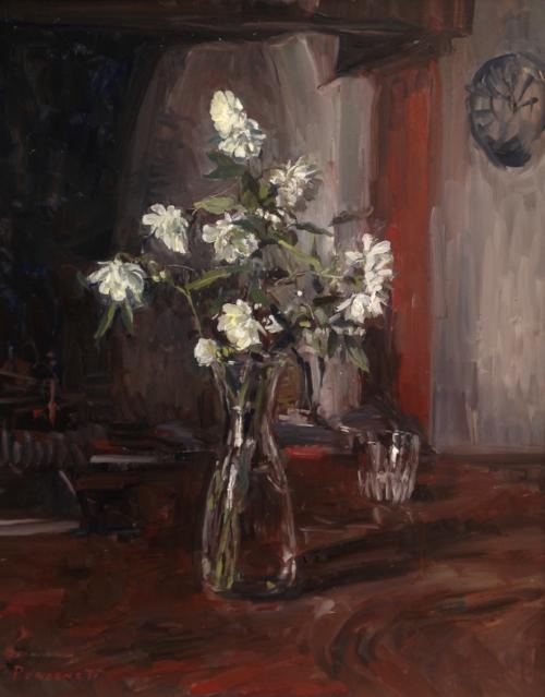 Rachel Personett   Winter Roses  24 x 20 in oil on canvas
