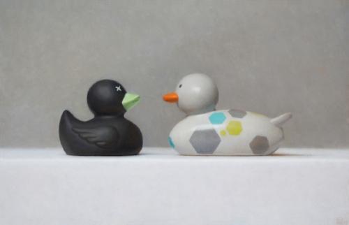 Samuel Hung   Odd Ducks #1  9 x 14 in oil on panel