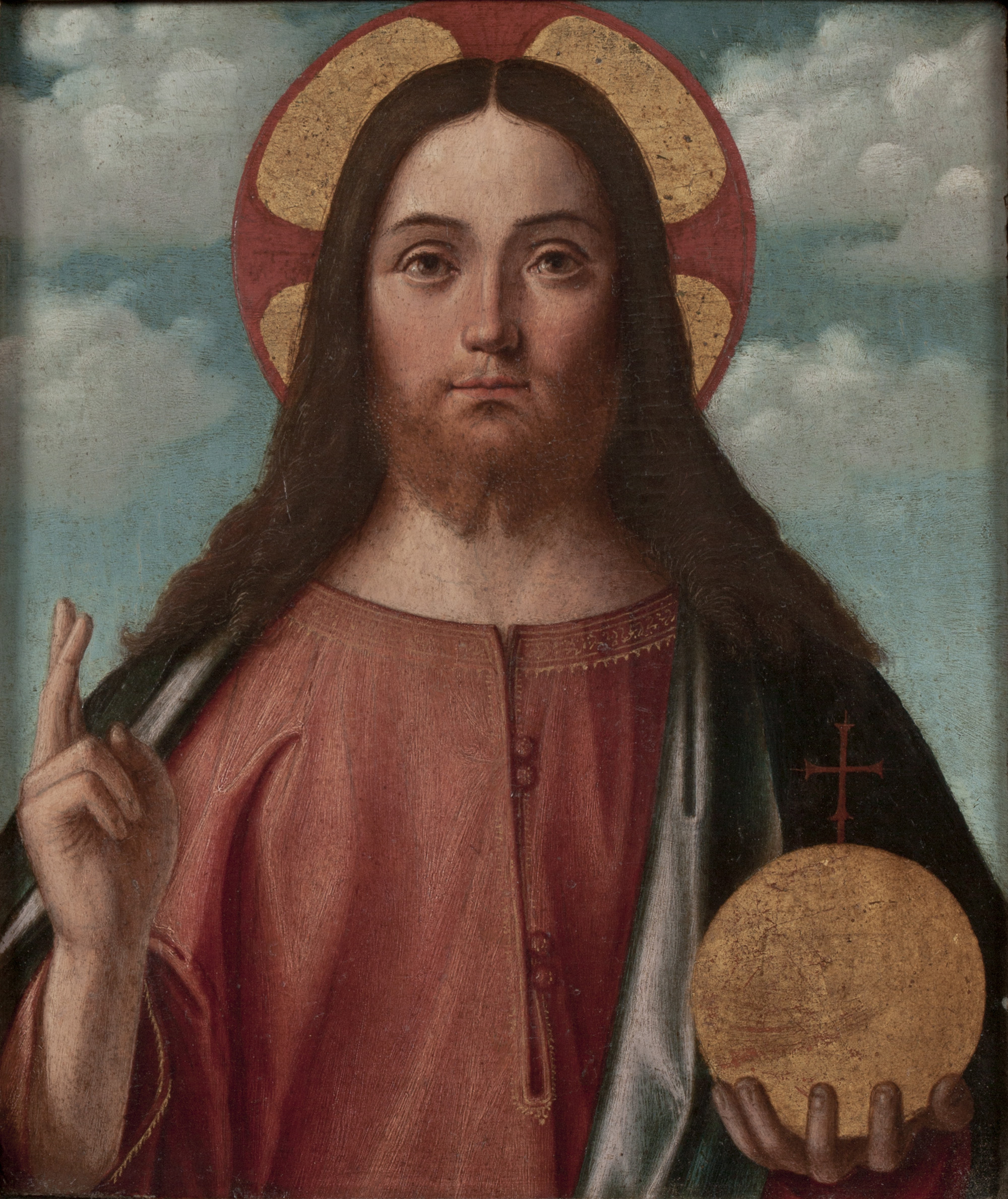 Vittore Carpaccio  (b. ca. 1465-70)  Christ Blessing  14 ¾ x 12 ½ in. oil on panel