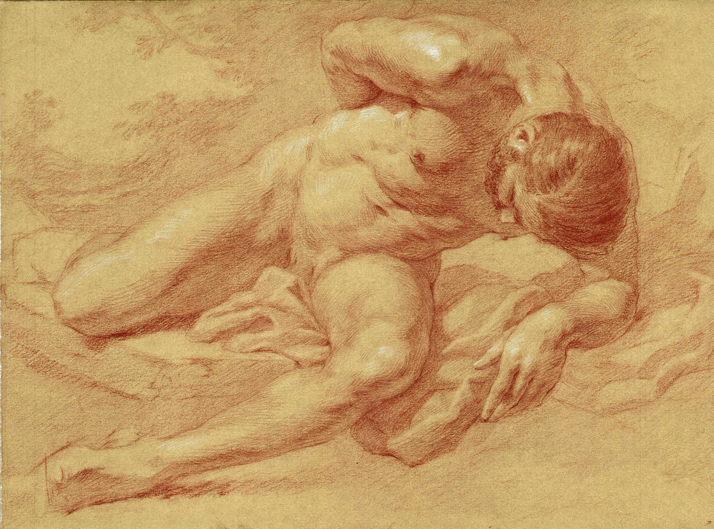 Anthony Baus  (b. 1981)  Nude in attitude of defeat , 2018 16 x 12 in. red chalk on paper