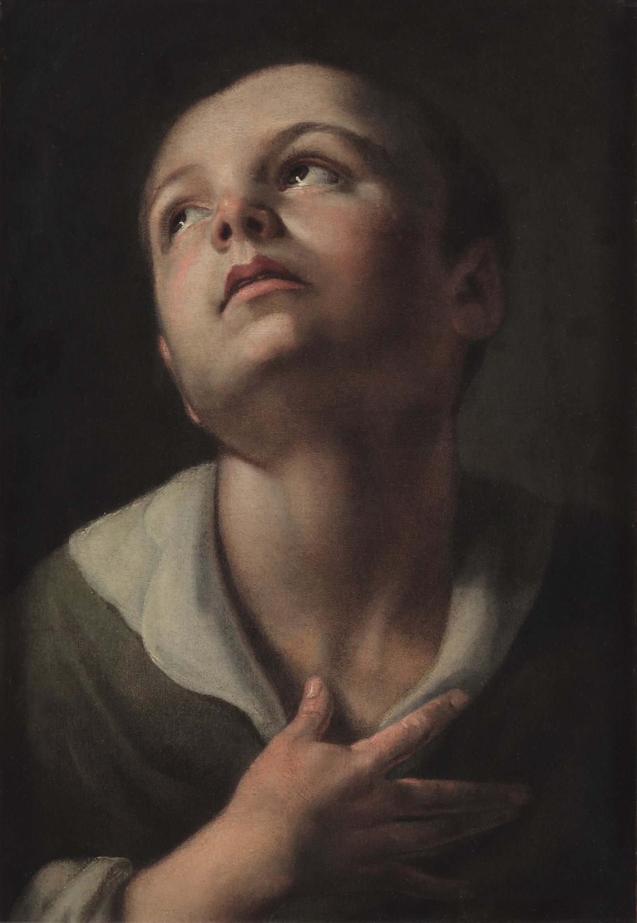 Bolognese School  (17th century)  Portrait of a Boy  14 ⅜ x 10 in. oil on paper, laid down on panel