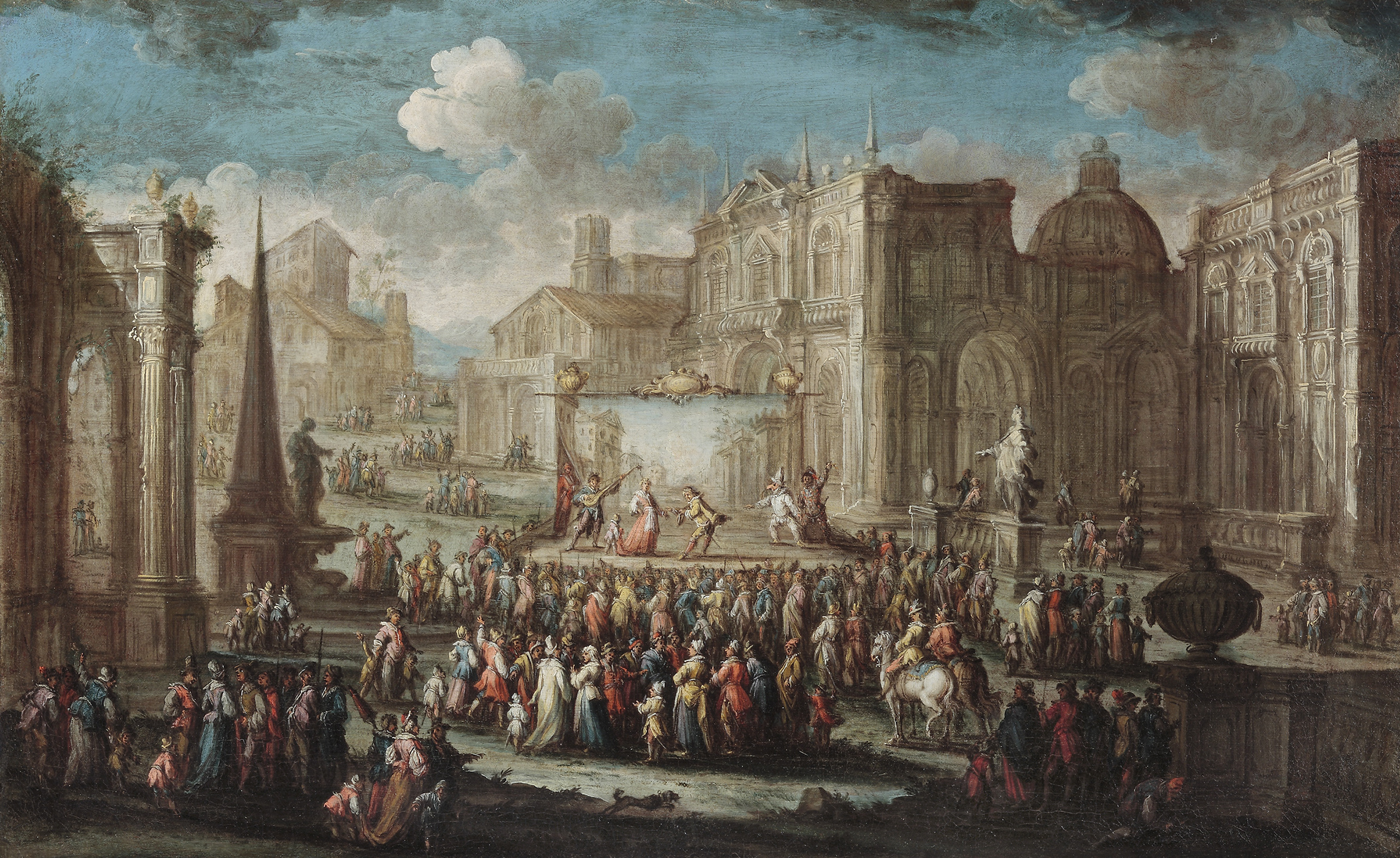 Gherardo Poli  (b. 1676),  A Performance from the Commedia dell'Arte set in a Piazza  22 ¼ x 36 ¼ in. oil on canvas
