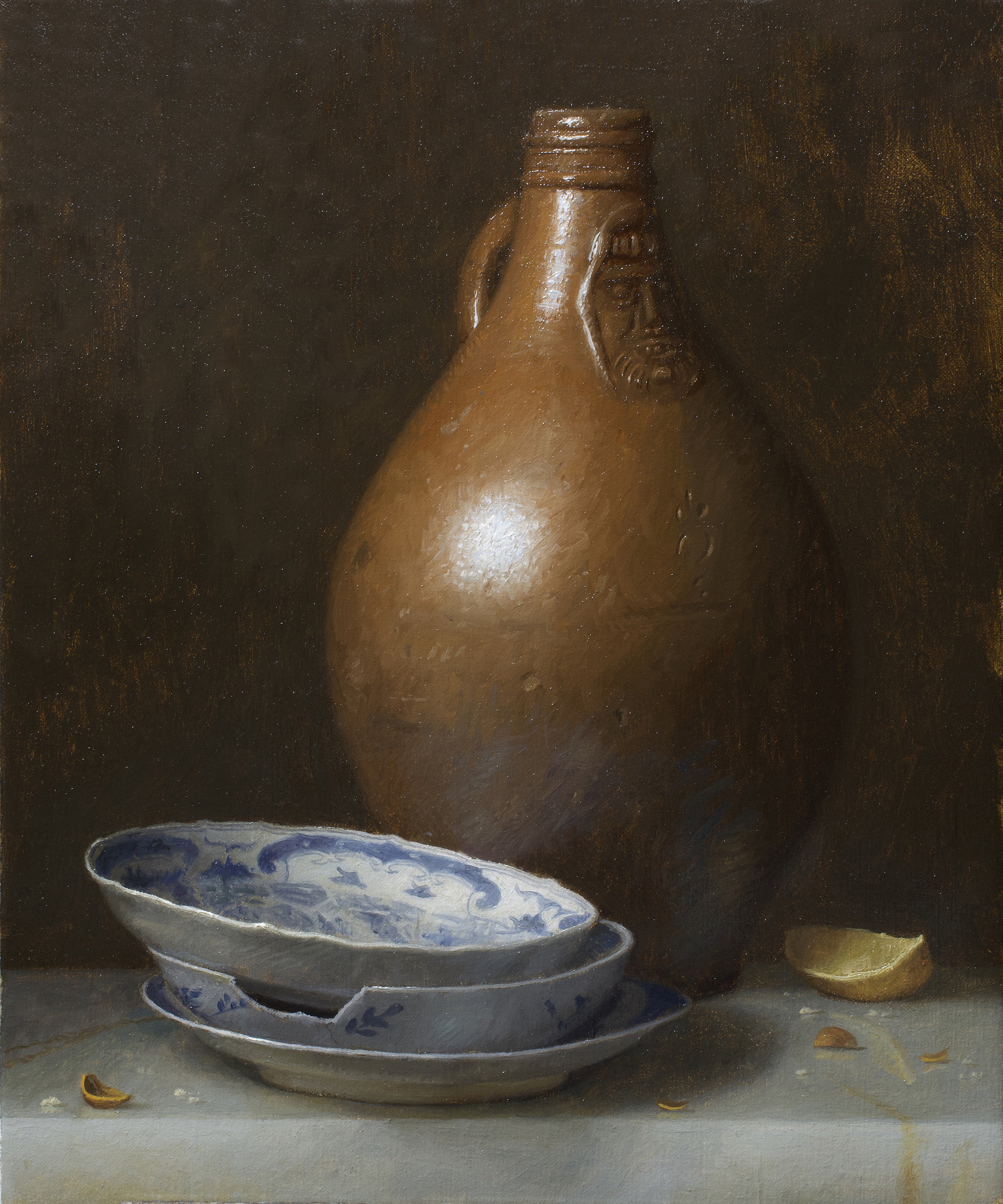 Justin Wood  (b. 1982)  Bartmann Jug and Porcelain , 2018 12 x 10 in. oil on linen