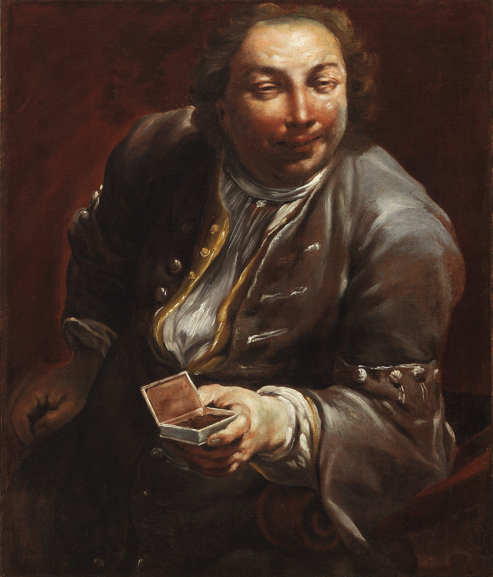 Giuseppe Maria Crespi  (b. 1665)  Portrait of a Gentleman with Snuff  31 ⅞ x 27 ¼ in. oil on canvas