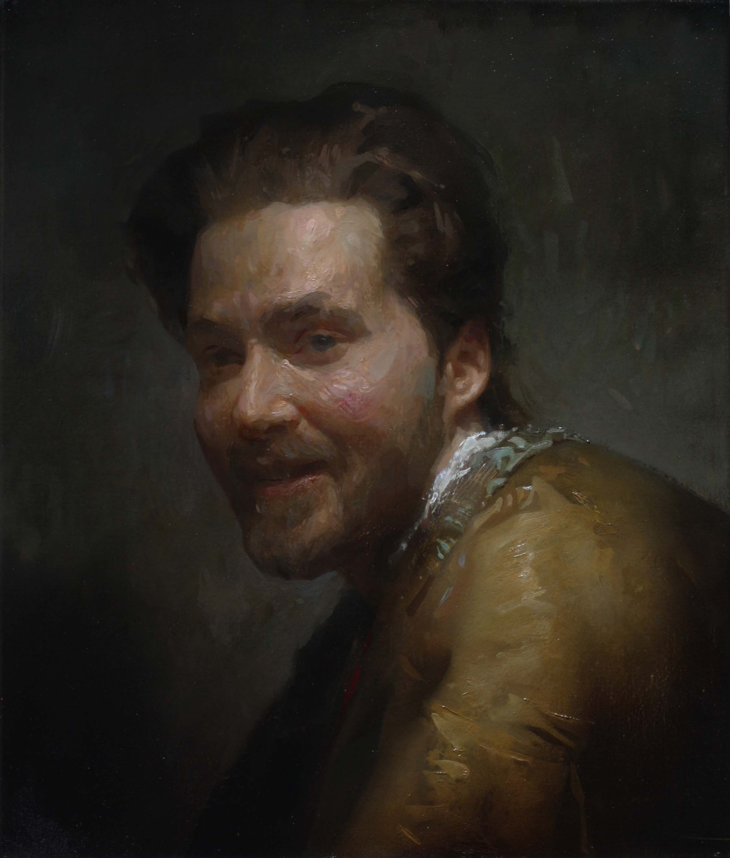 Will St. John  (b. 1980)  Laughing Man , 2018 15 x 16 in. oil on linen