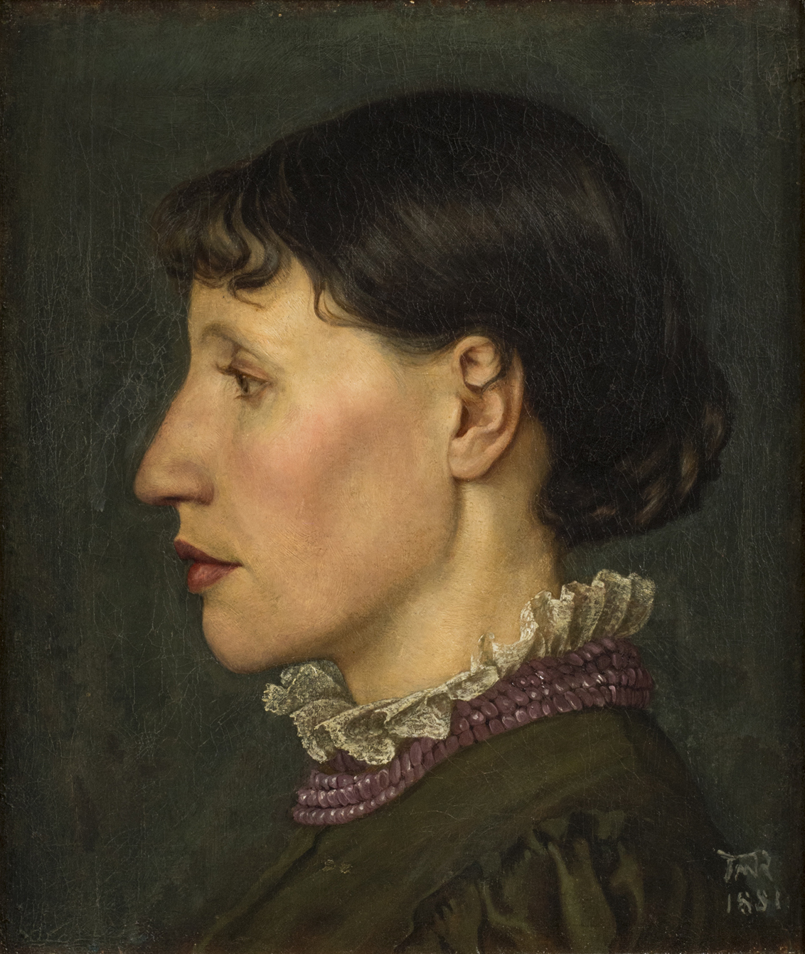 Thomas Matthews Rooke  (b. 1842)  Portrait of Leonora Jane Rooke, the Artist's Wife  14 ⅛ x 12 ⅛ in. oil on canvas