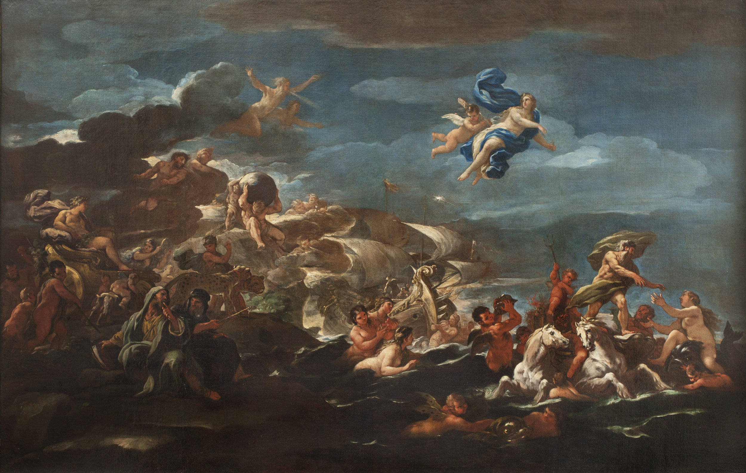 Luca Giordano  (b. 1634)  Allegory of Human Progress  (The Triumph of Bacchus and the Triumph of Neptune and Amphitrite) 47 ¾ x 74 ¾ in. oil on canvas