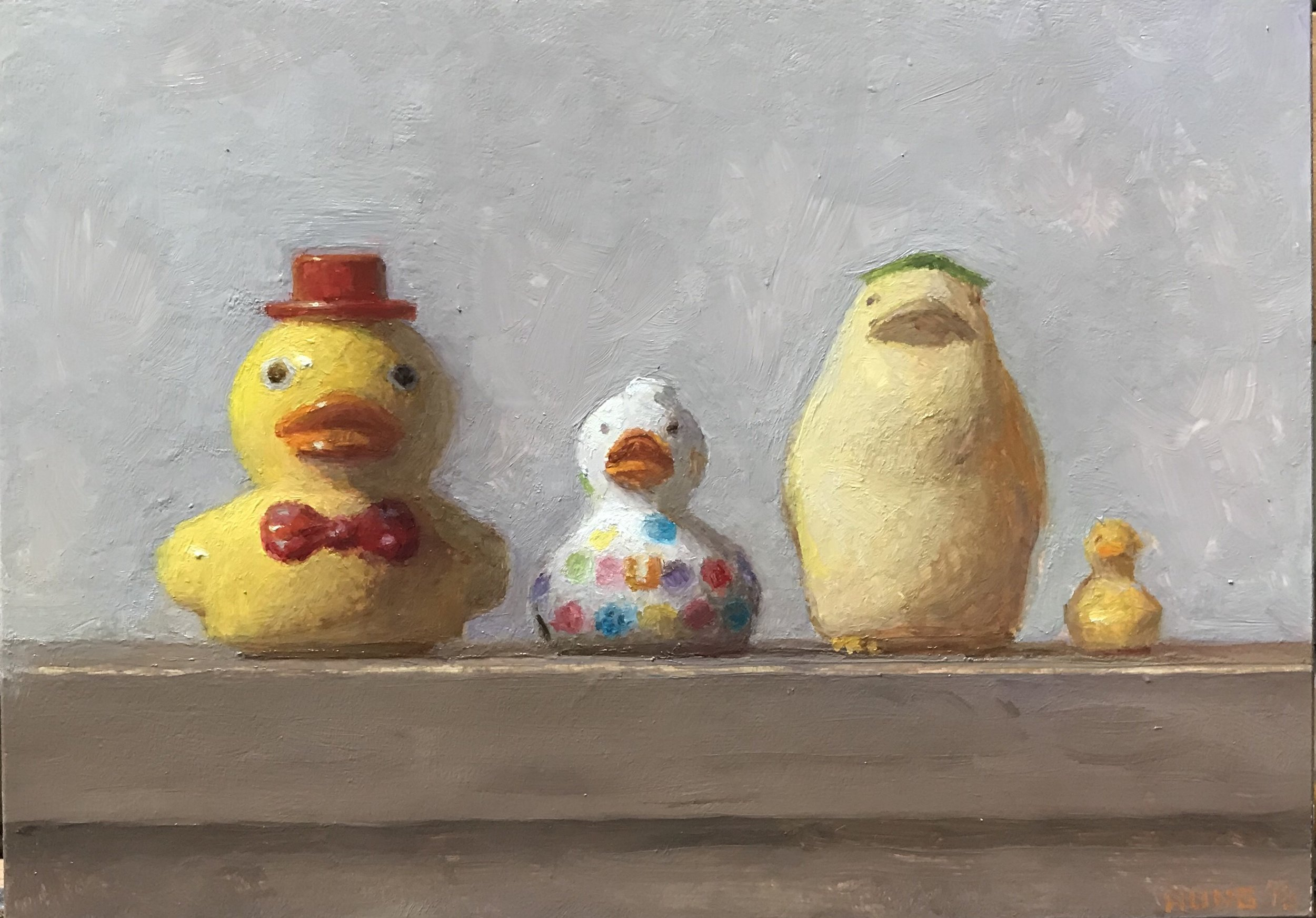 Study for Ducks in a Row , by Samuel Hung, 2018 5 x 7 in, oil on clayboard