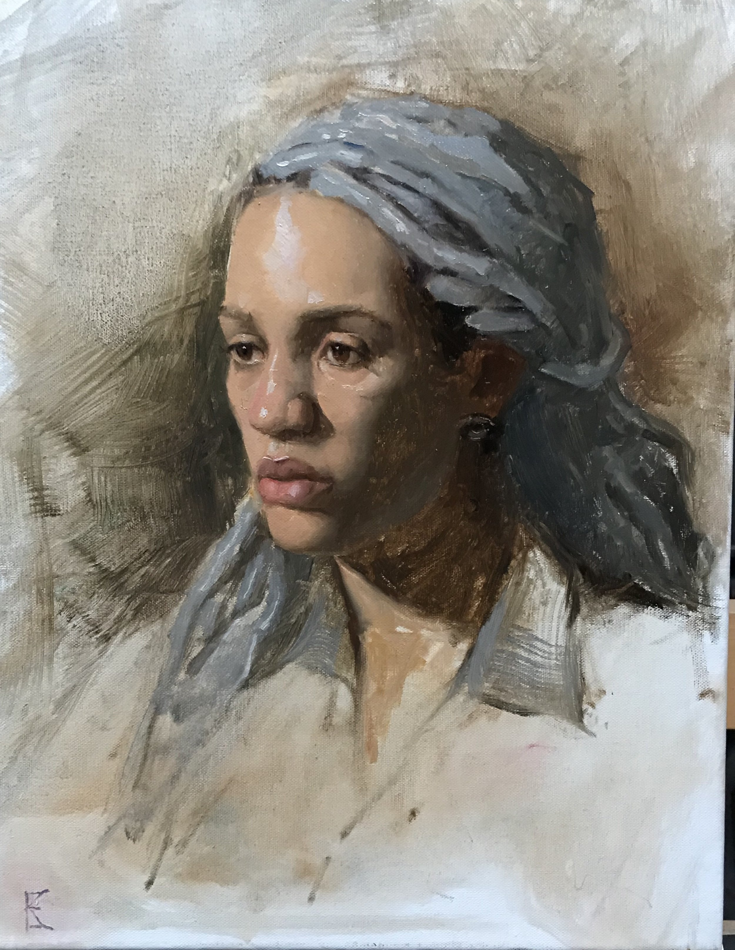 Kimmah  by Kathryn Engberg, 2018 14 x 11 in, oil on linen