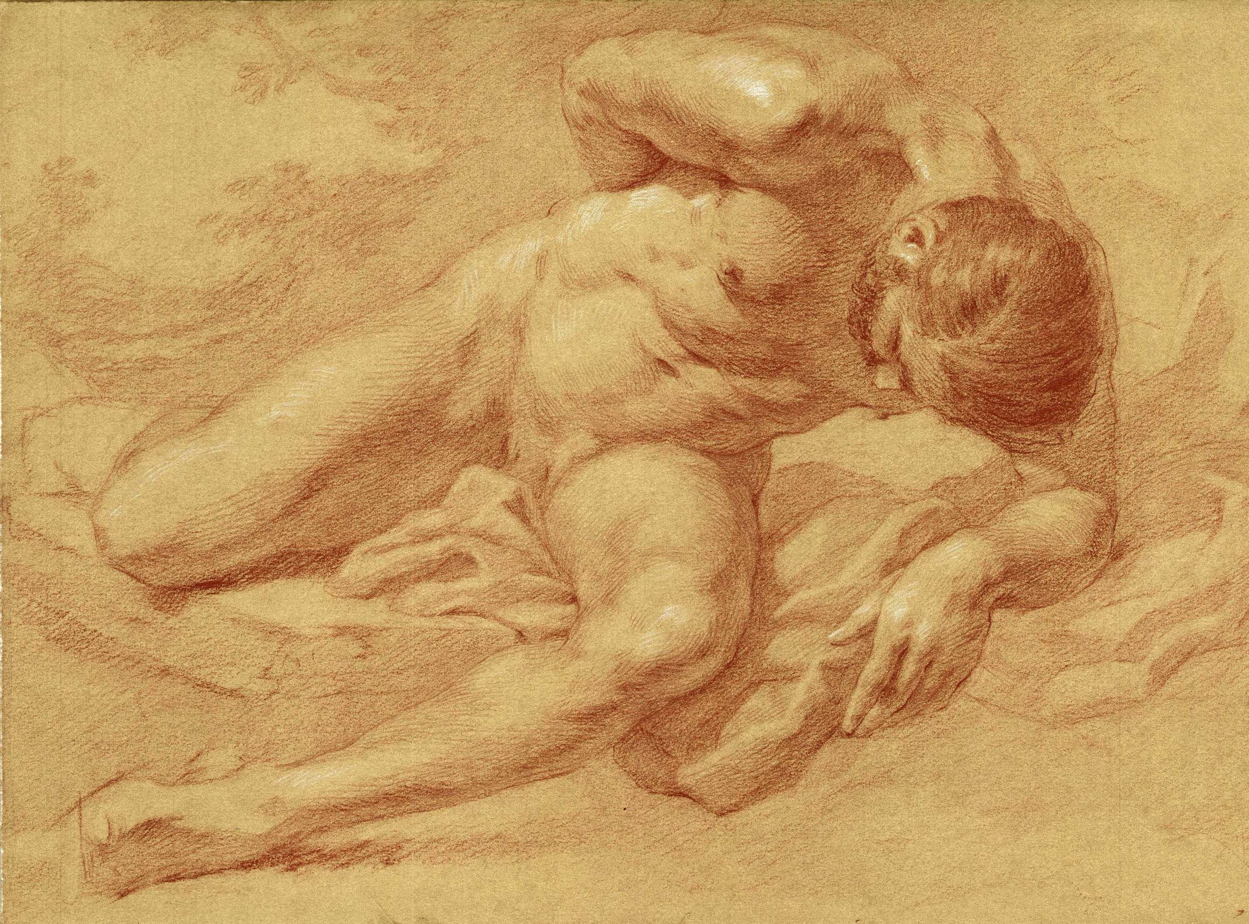Male Nude  by Anthony Baus, 2018, red chalk on paper, $3,000