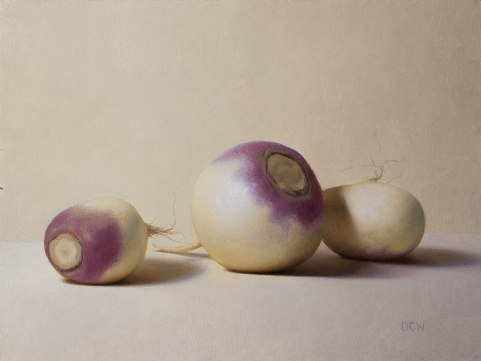 Purple Tops  by Devin Cecil-Wishing, 2018, oil on linen panel, 9 x 12 in, $1,900