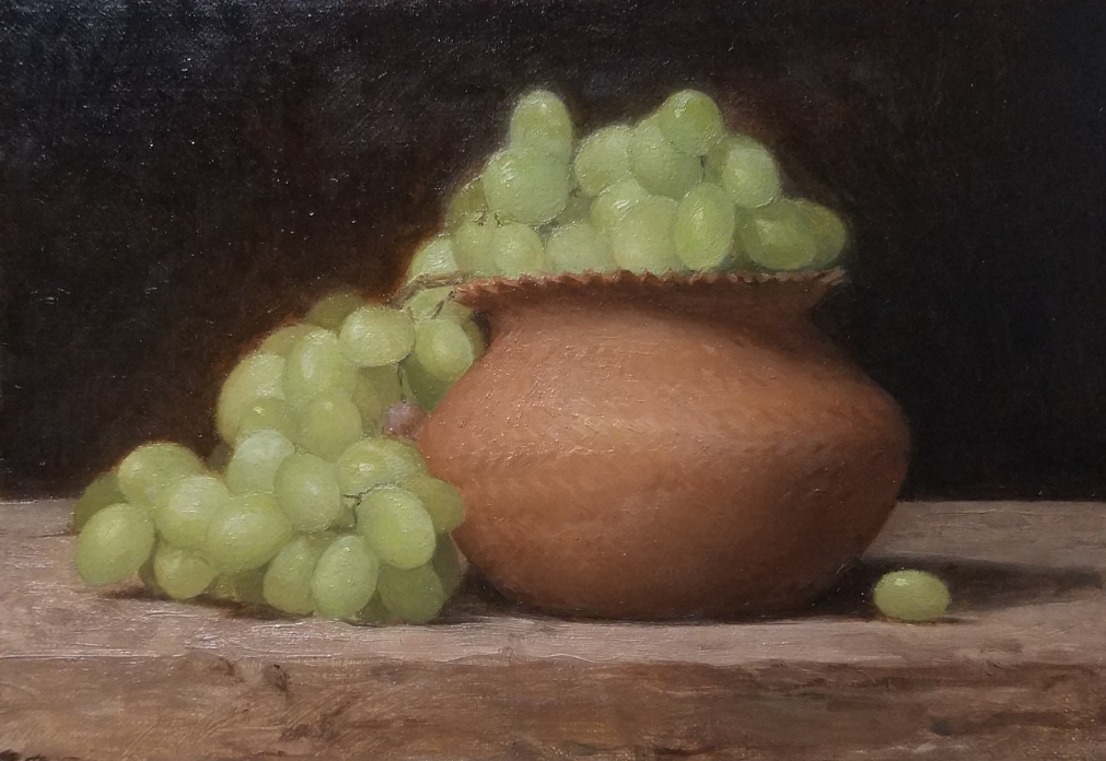 Grapes in a Basket  by Sandra Sanchez, 2018, oil on linen, 5 x 7 in, $675