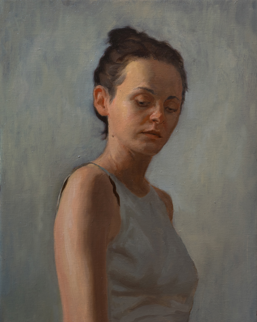 Lost In Thought  by Tsultrim Tenzin, 2018, oil on linen, 14 x11 in, $850