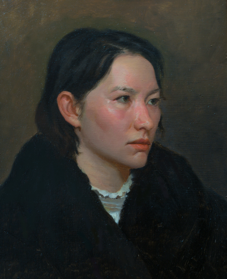 Study of a Russian Girl  by Tsultrim Tenzin, 2018, oil on linen, 14 x 11 in, $850