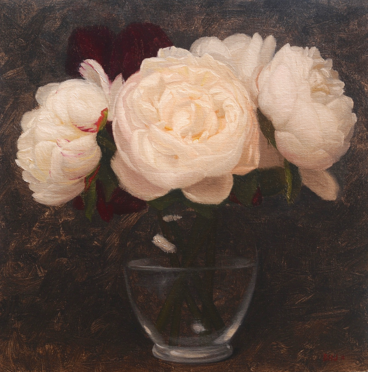 White Peonies Bouquet by Brendan Johnston, 2018, oil on linen, 14 x 14 in, $1,400