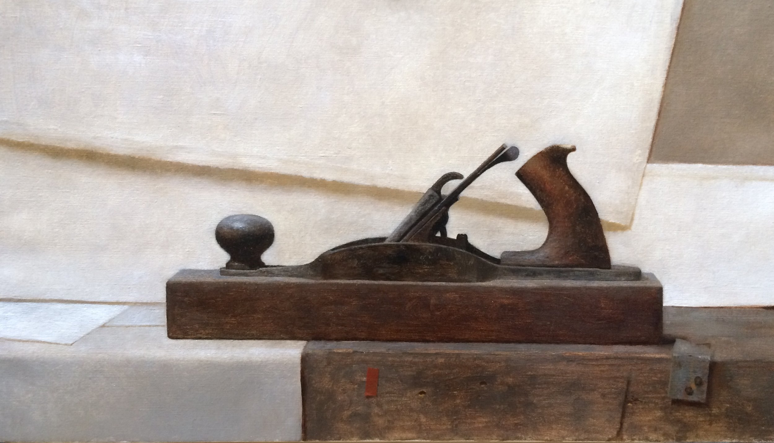 Block Plane  by Dale Zinkowski, 2018, oil on linen, 14 x 24 in, $2,500