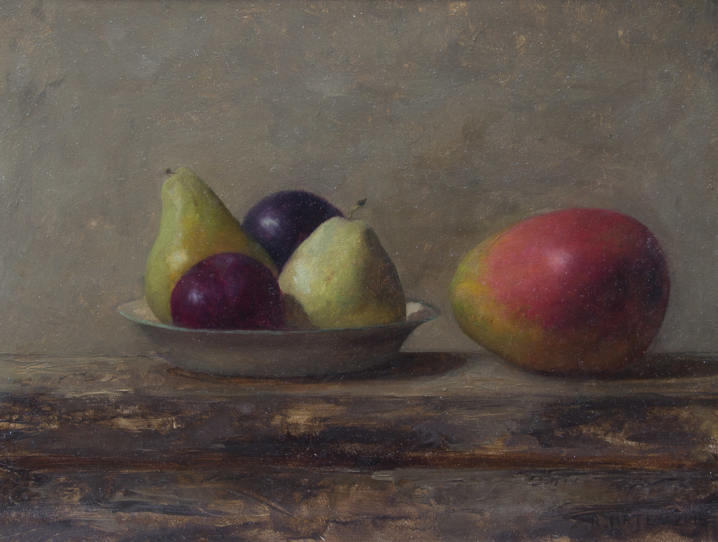 Fruit Plate with Mangoes  by Rodrigo Mateo. 2017, oil on panel. 9 x 12 in, $1,400