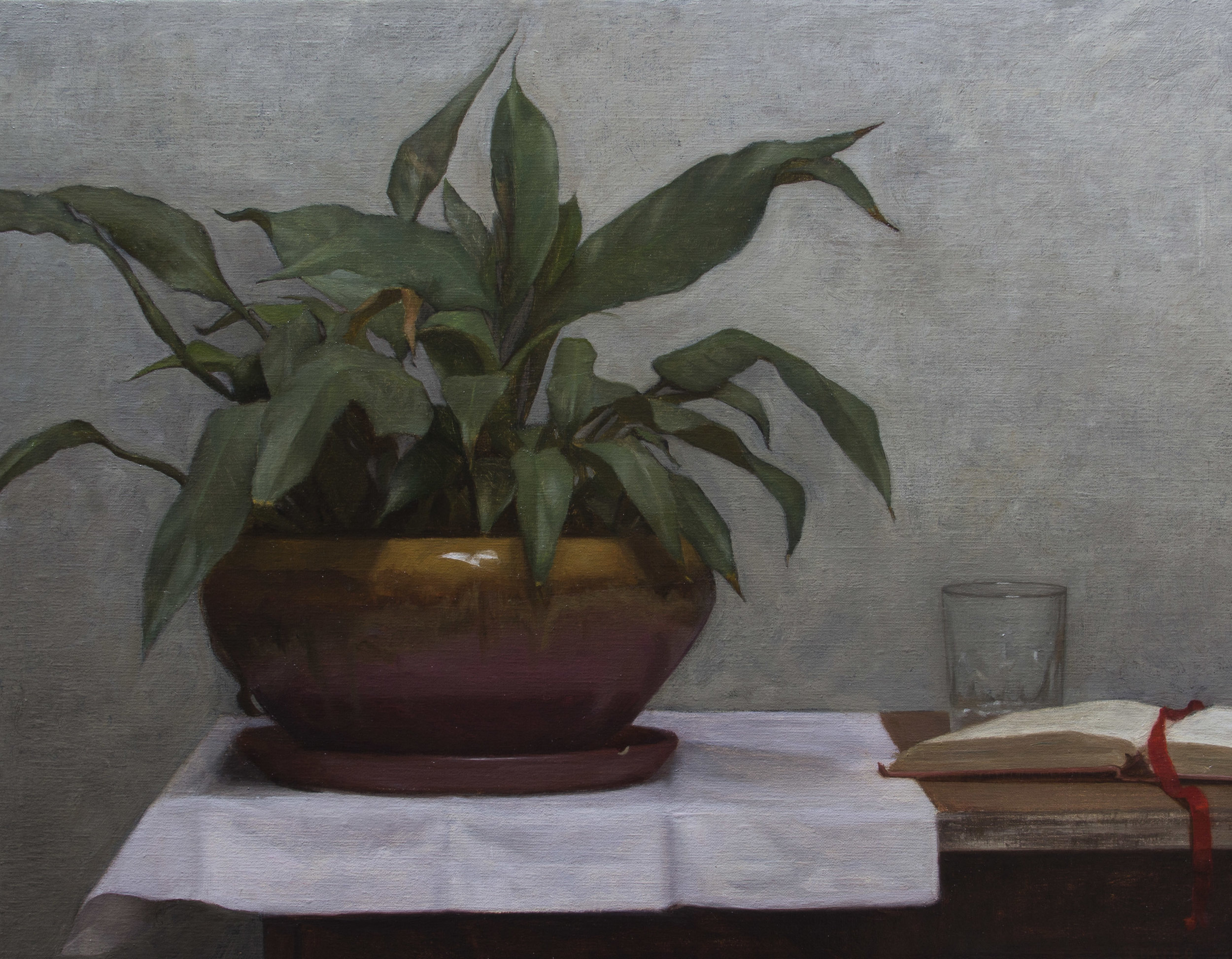 Potted Plant and Journal  by Rodrigo Mateo, 2018, oil on canvas. 18 x 14 in, $2,400