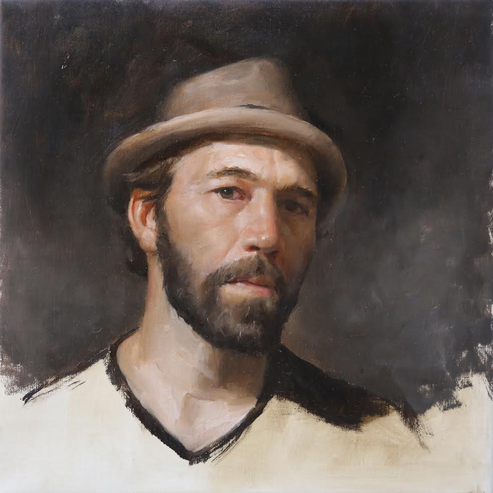 Self-Portrait with Hat  by Gregory Mortenson, 2017, oil on linen, 12 x 10 in, $2,200