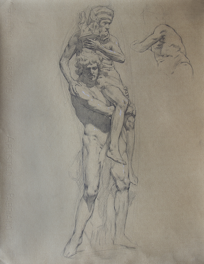 Bernini's Aeneas and Anchises  2018, graphite and white chalk on paper 19 x 15 in $1,500