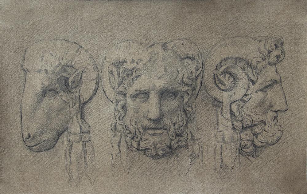 Details of Altar of Lucius Aufidius Aprilis  2018, graphite on paper 8 x 13 in $850