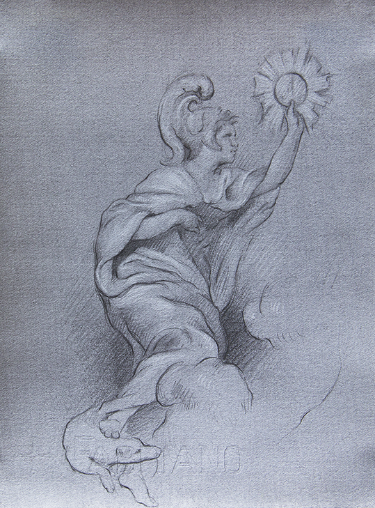 Angel from Chapel of St. Louis of France  2018, black and white chalk on paper 8 x 6 in $650