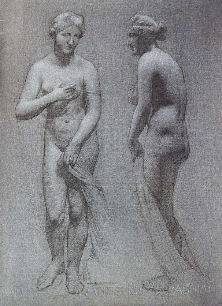 Aphrodite of Menophantos  2018, graphite and white chalk on paper 15 x 11 in $1,100