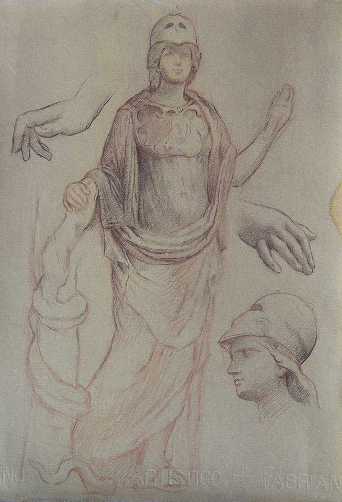 Athena  2018, red and brown chalk on paper 15 x 11 in $900