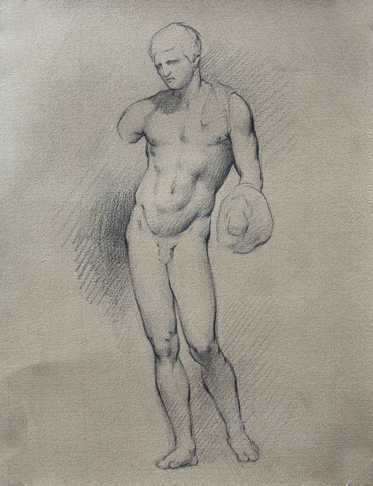 Belvedere Hermes  2018, graphite and black chalk on paper 9 x 7 in $500