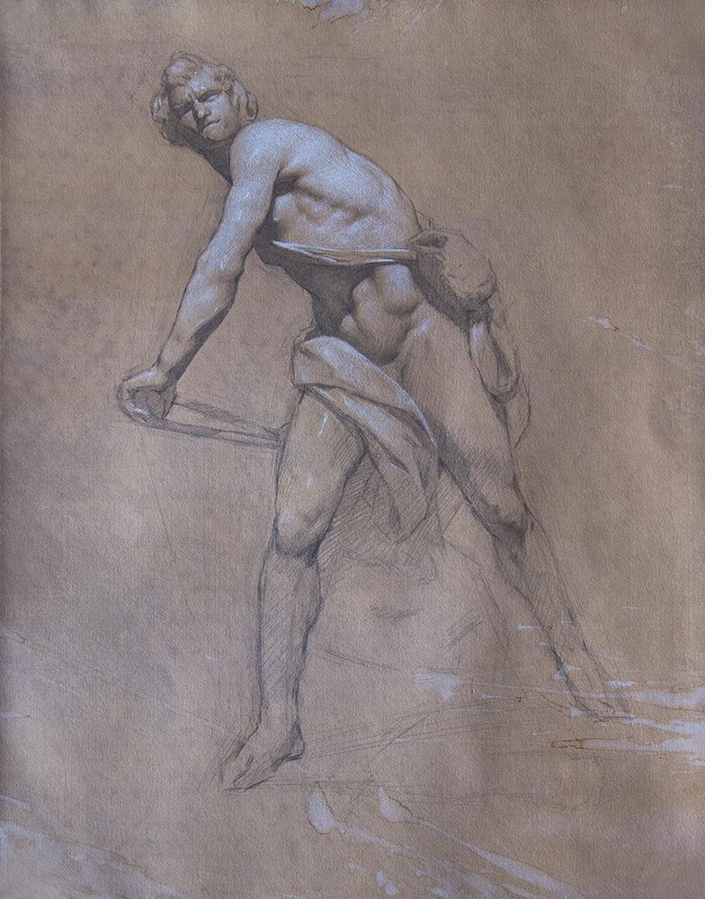 Bernini's David  2018, graphite and white chalk on paper 19 x 15 in $1,500