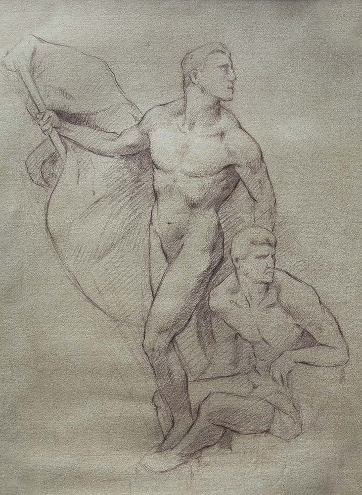 Detail of Political Triumph (Ponte Vittorio Emmanuele II)  2018, brown chalk on paper 11 x 8 in $550