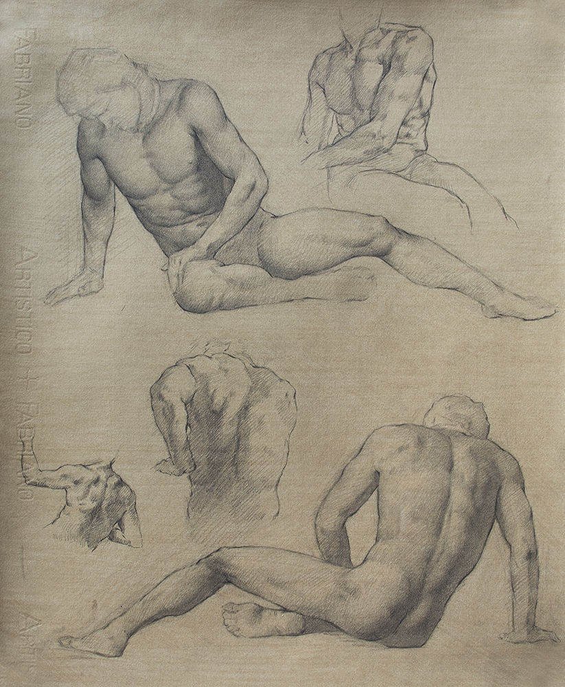 Dying Gaul and others  2018, graphite on paper 18 x 15 in $1,600