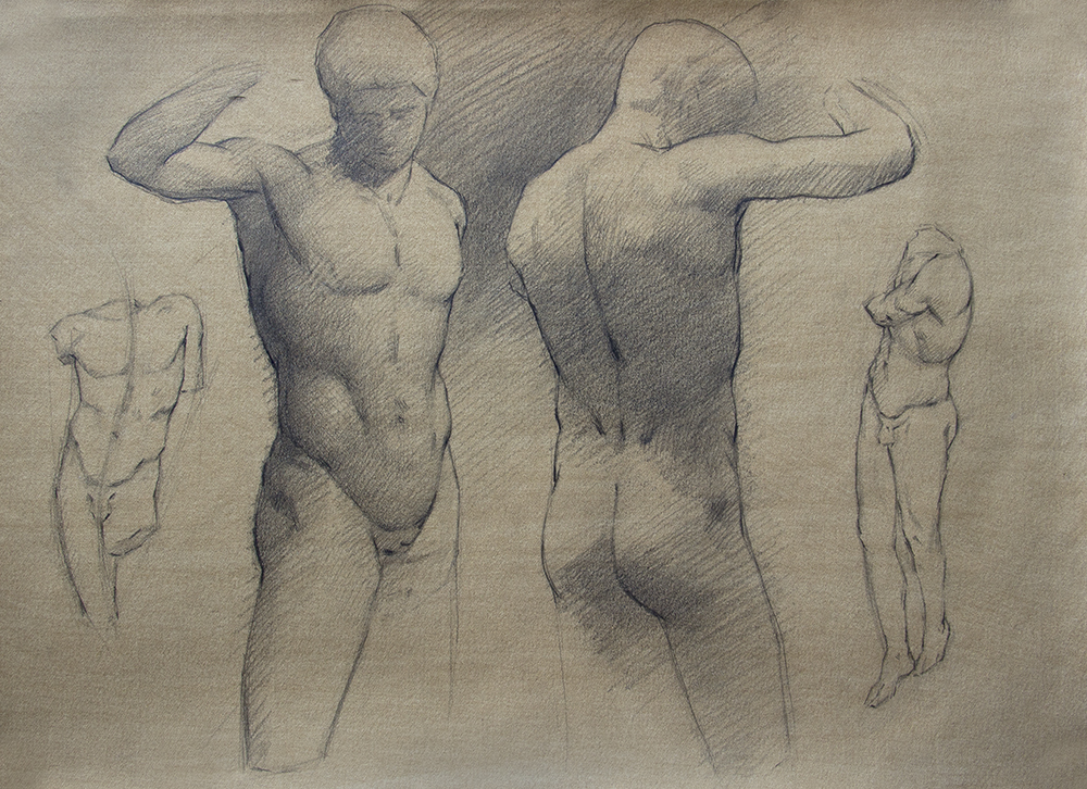 An Ephebe and others  2018, graphite on paper 11 x 15 in $1,000