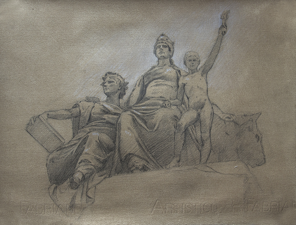 Europe with Allegorical Figures of Knowledge and History  2018, graphite and white chalk on paper 10 x 13 in $800