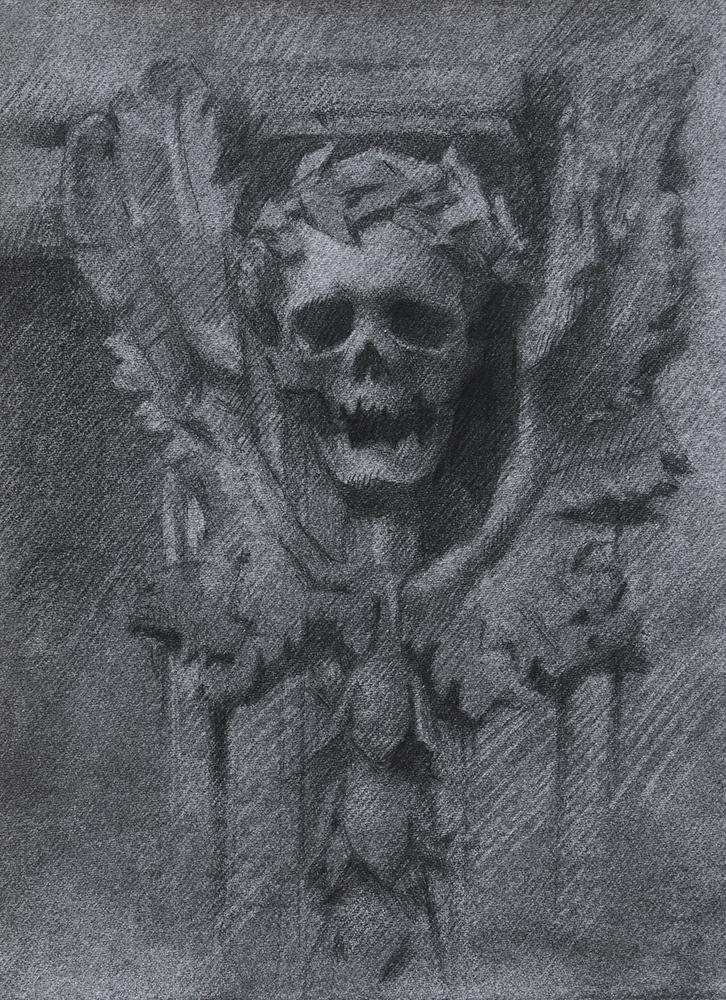 Façade Detail of Chiesa di Santa Maria dell'Orazione e Morte  2018, charcoal, graphite, and black chalk on paper 7.5 x 5.5 in $500