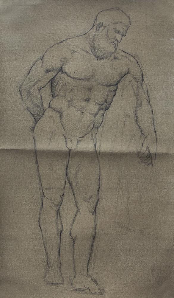 Farnese Hercules  2018, graphite on paper 15 x 9 in $700