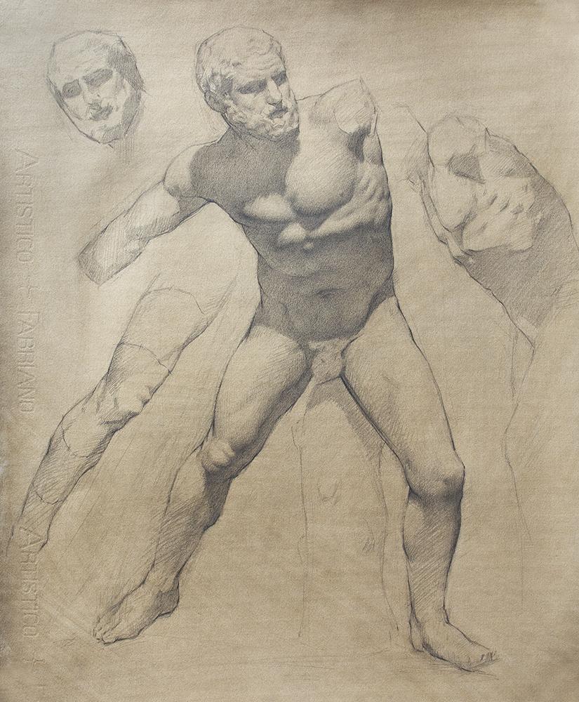 Fighting Herakles  2018, graphite on paper 18 x 15 in $1,500