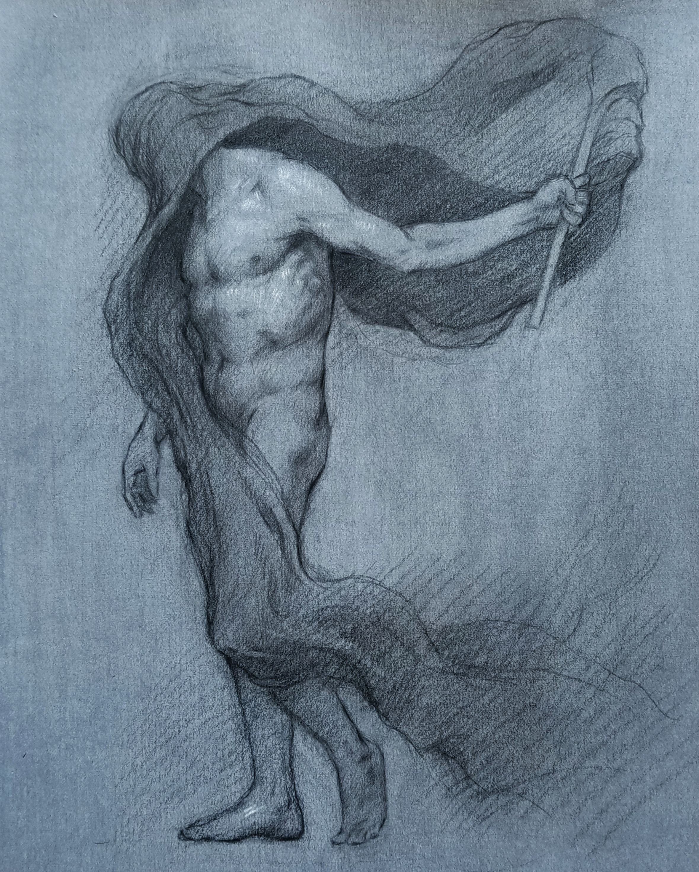 Figure Study for Allegory of Ideology  2018, black and white chalk on paper 11 x 9 in Not for sale