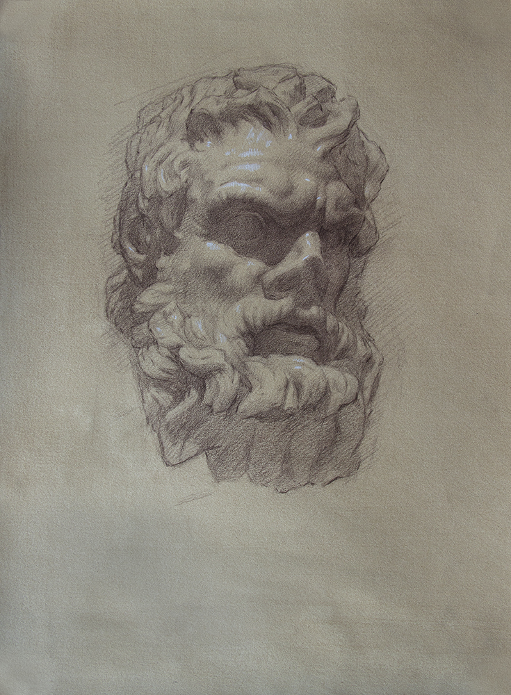 Head of a Centaur  2018, brown and white chalk on paper 15 x 11 in $1,000