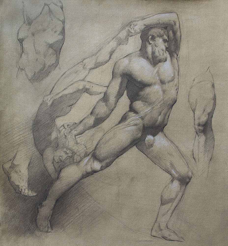 Canova's Hercules and Lichas  2018, graphite and white chalk on paper 16 x 15 in $1,800
