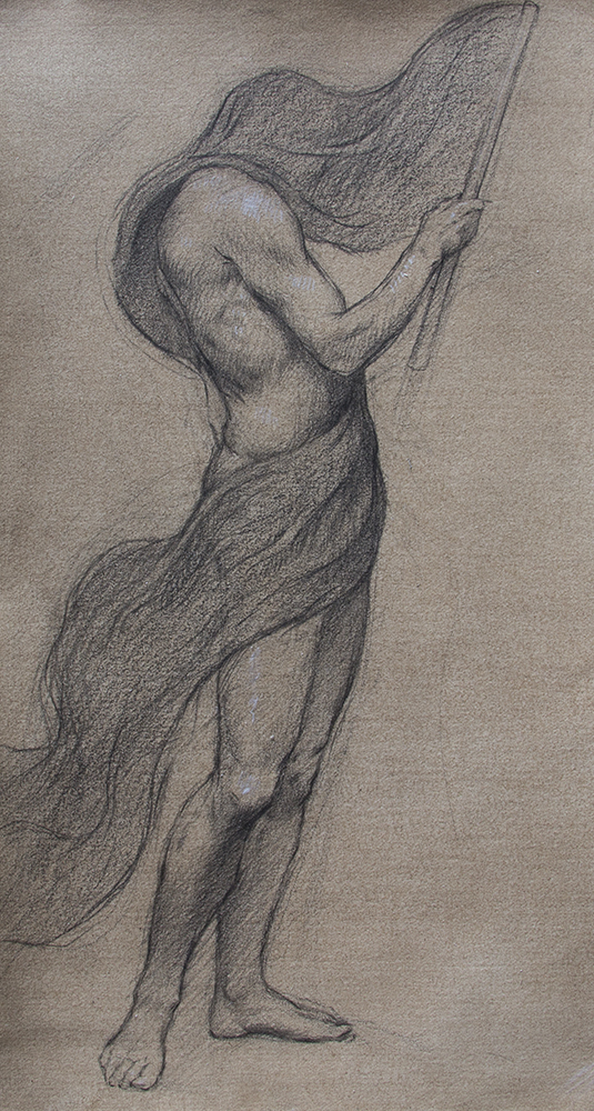 Figure Study for Allegory of Ideology  2018, black and white chalk on paper 11 x 6 in Not for sale