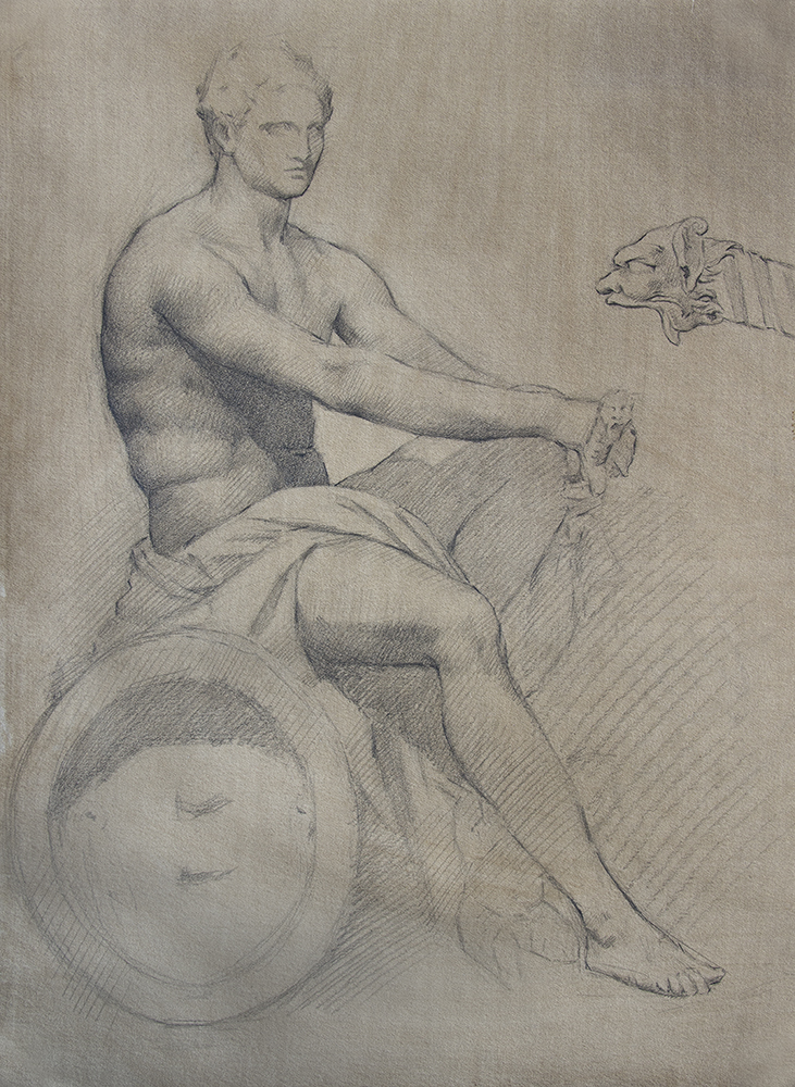 Ludovisi Ares  2018, graphite on paper 15 x 11 in $800