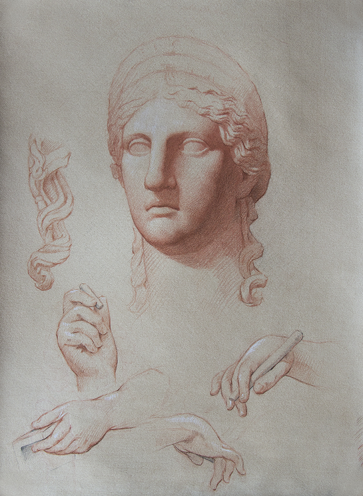 Ludovisi Hera and others  2018, red, black, and white chalk on paper 15 x 11 in $900