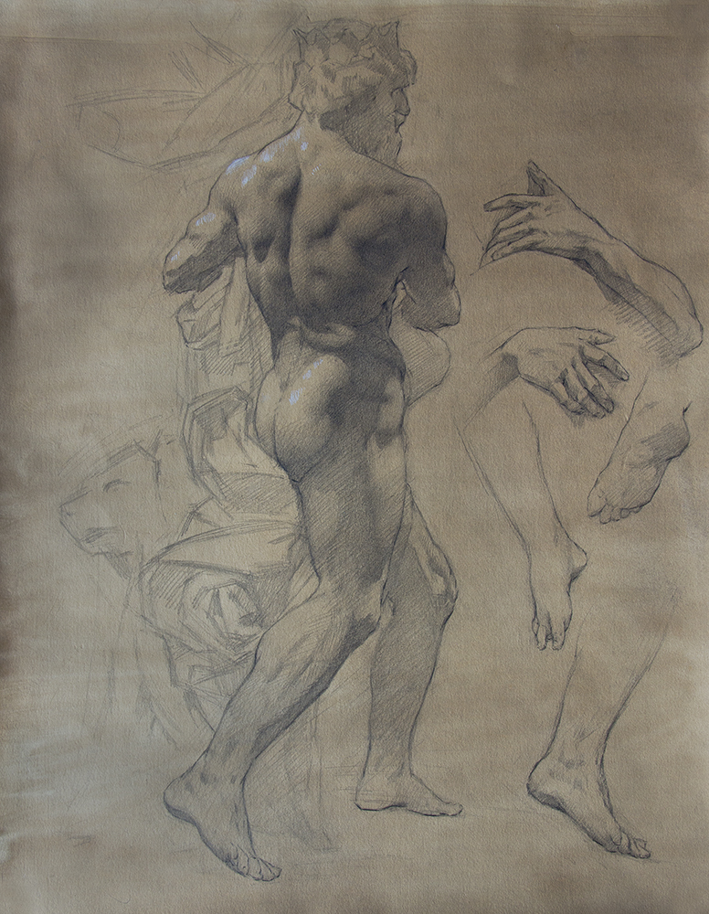 Bernini's Pluto and Proserpina  2018, graphite and white chalk on paper 19 x 15 in $1,800