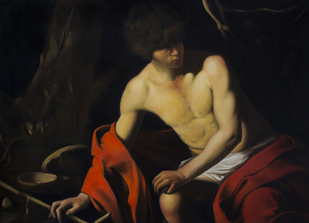 St. John the Baptist, copy after Caravaggio  2018, oil on canvas 25.75 x 35.5 in $9,000