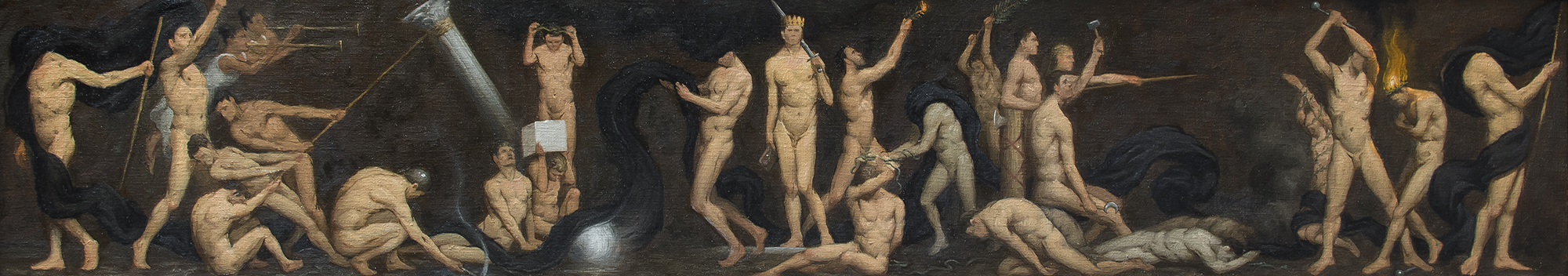 Study for Allegory of Ideology  2019, oil on canvas 9 x 48 in Not for sale