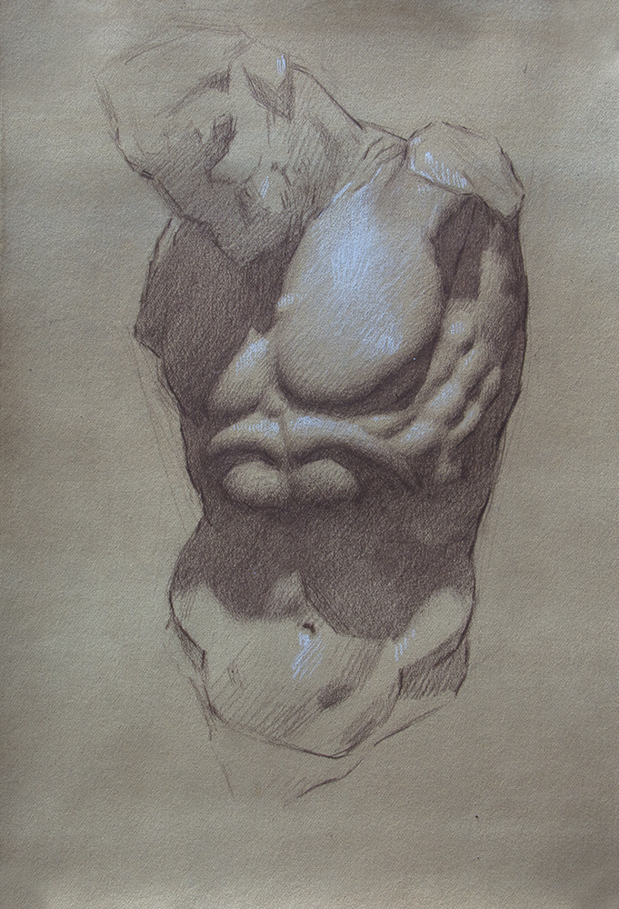Torso of the Minotaur  2018, brown and white chalk on paper 11 x 7.5 in $700