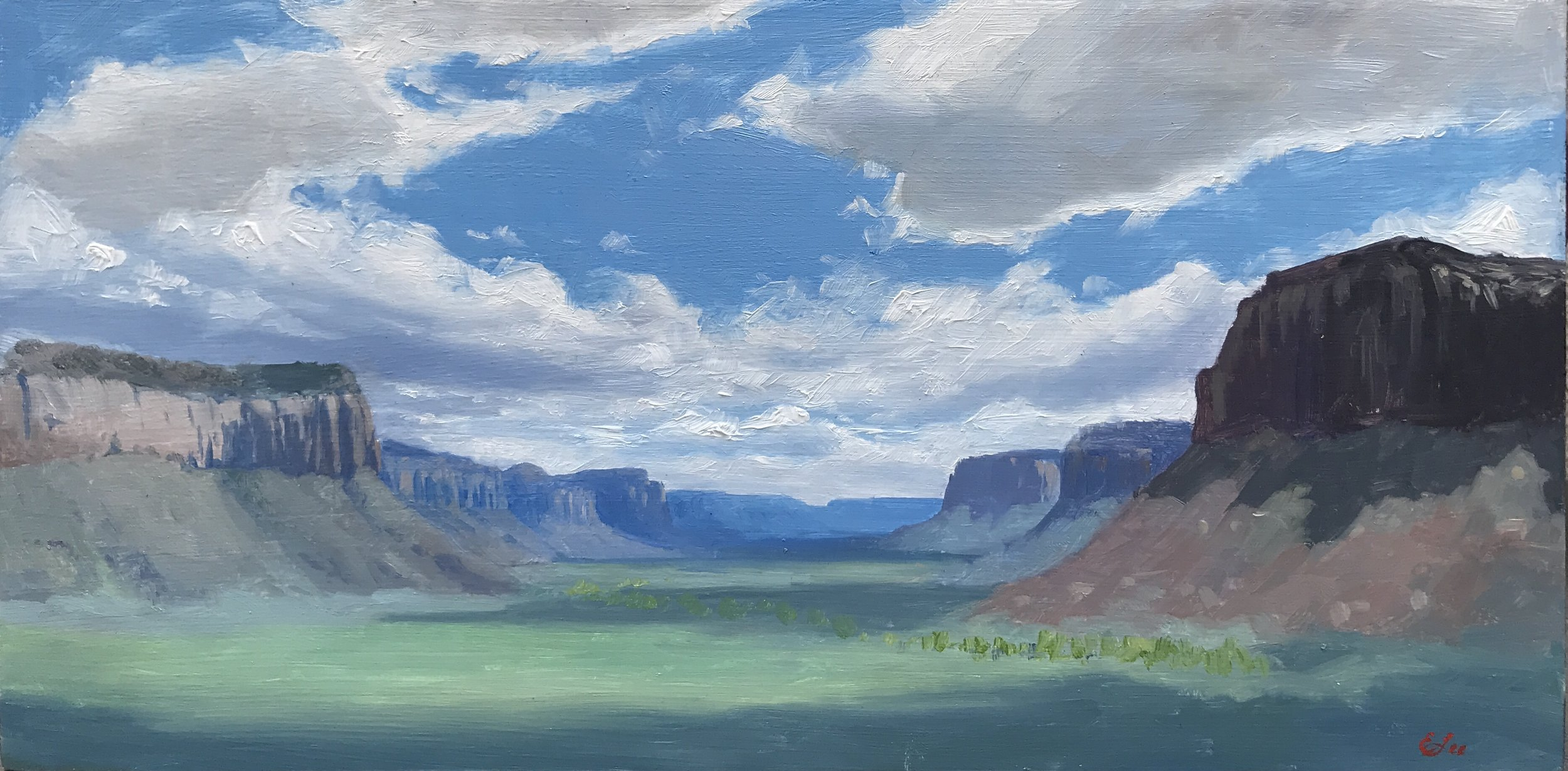 Indian Creek Canyon  by Emilie Lee, 2019, 6 x 12 in, oil.